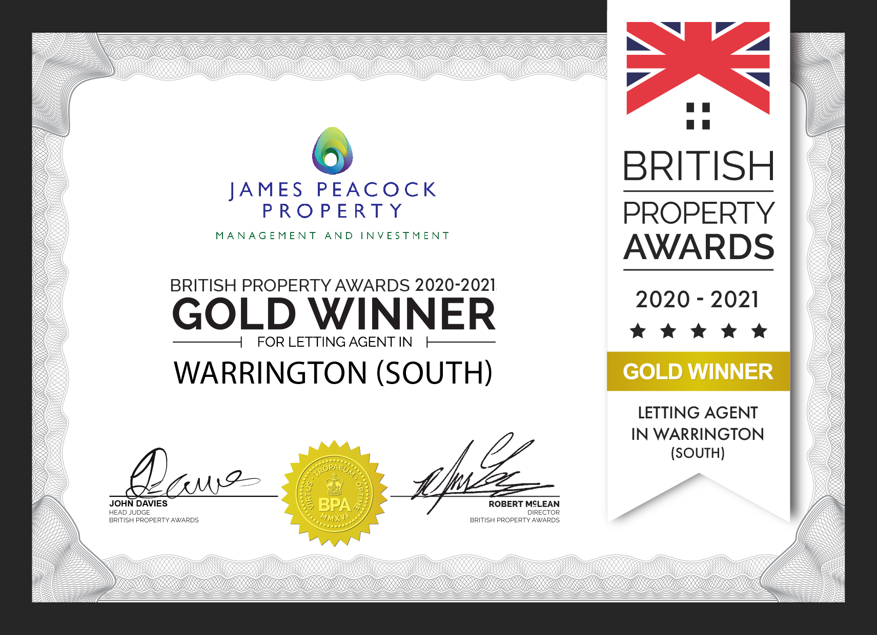 James Peacock Property Win Outstanding Agent Award for the second year running